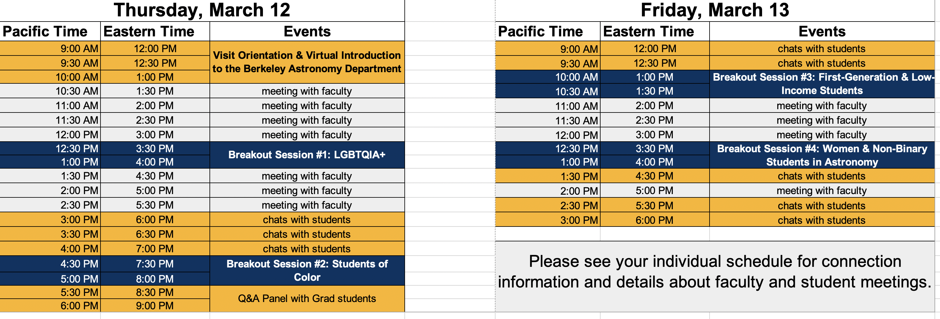 schedule for prospective student visit