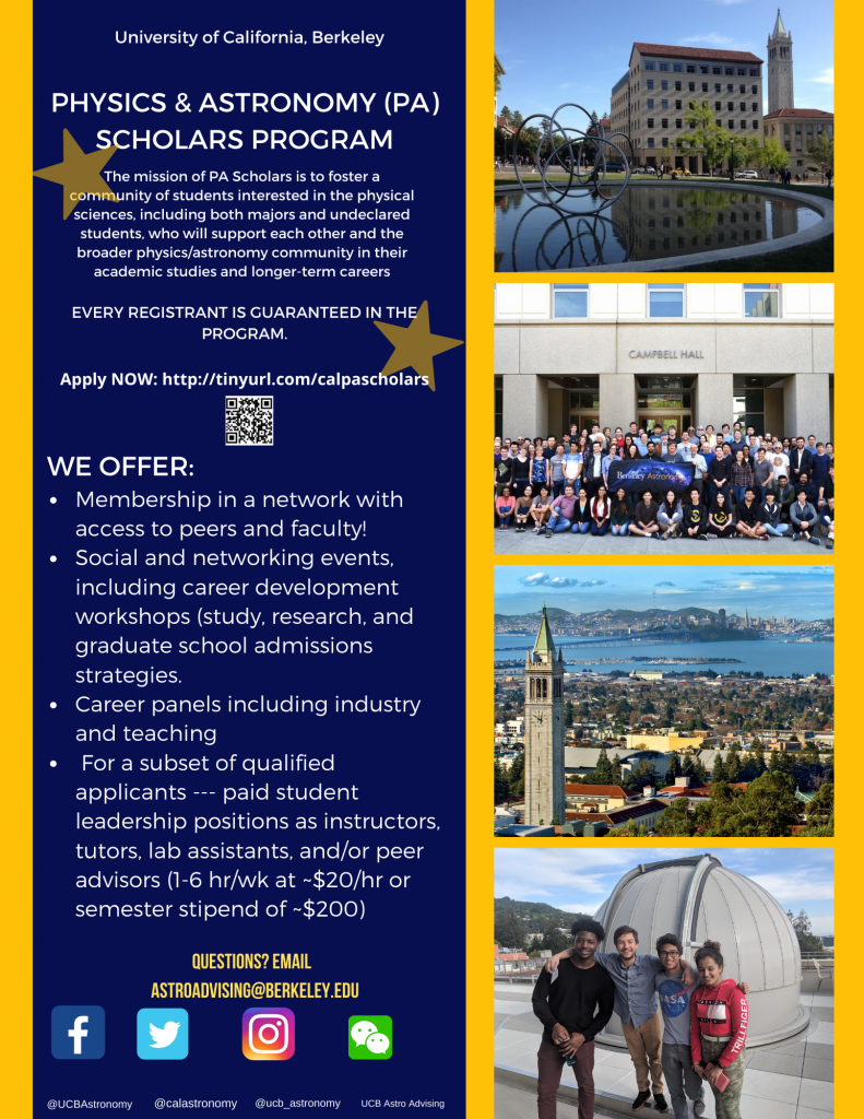 Physics Astronomy Scholars Flyer with images, info, links